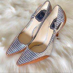 Christian Dior Rare Blue Metallic and Tan Heel
